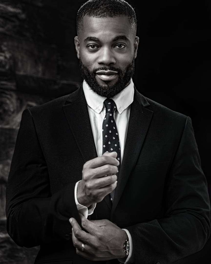 """""""Powerful Photography"""" Black & White Corporate Portrait of a young Lawyer. https""""//powerfulphotography.co.uk"""